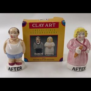 Vintage Clay Art Before and After Wedding Shakers
